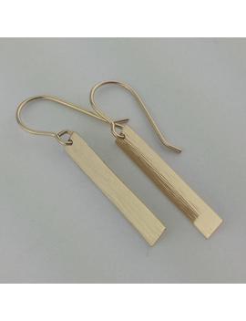 Solid 14k Gold Earrings, Gold Rectangle Earrings, Thin Sleek Gold Earrings, Hammered Gold Earrings, Lightweight Gold Earrings by Etsy