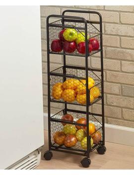 Country Farmhouse Slim Storage Cart   Black by Ebay Seller