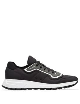 Grey Gabardine Leather Low Top Sneakers by Prada
