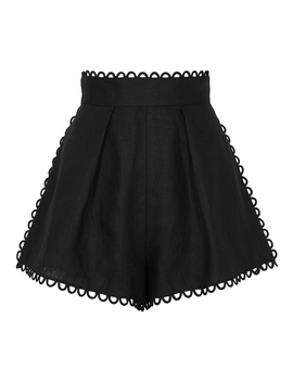 Allia Black Linen Shorts by Zimmermann