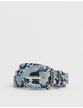 Pieces Snake Print Belt In Pastel Blue by Pieces