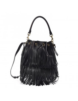 Saint Laurent Calfskin Small Emmanuelle Fringe Bucket Bag Black by Yves Saint Laurent