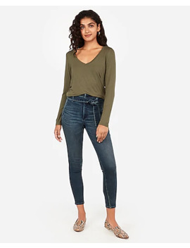 Long Sleeve V Neck Easy Tee by Express