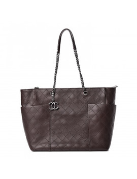 Chanel Calfskin Stitched Cc Pocket Shopping Tote Dark Brown by Chanel