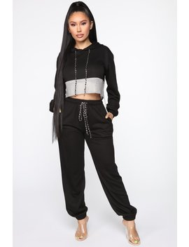 Make It Boujee Rhinestone Jogger Set   Black by Fashion Nova