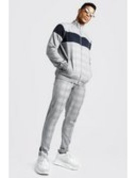 Smart Jacquard Funnel Neck Tracksuit With Piping by Boohoo Man