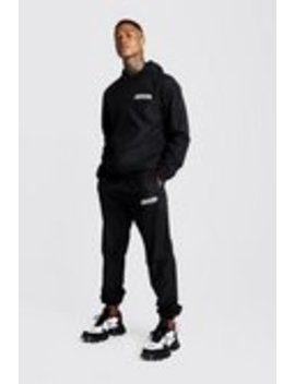 Man Zip Through Shell Tracksuit With Bungee Cords by Boohoo Man