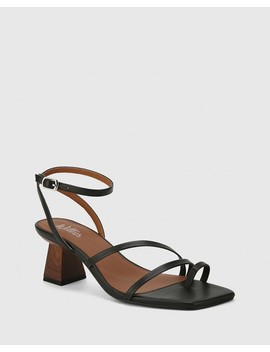 Kaiya Black Leather Strappy Sculptured Heel Sandal by Wittner