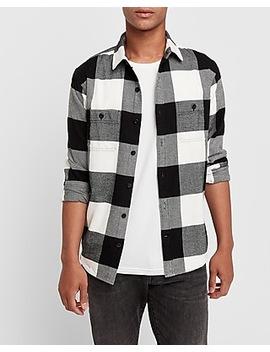 Slim Buffalo Plaid Flannel Shirt by Express