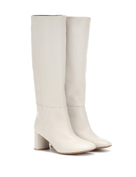 Donna Knee High Leather Boots In White by Loq