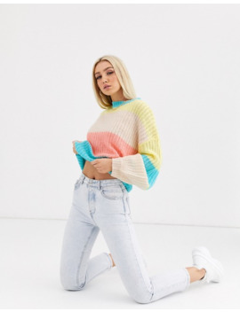 Missguided Sweater In Rainbow Stripe by Missguided's