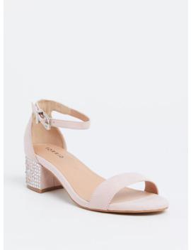 Light Pink Rhinestone Block Heel Sandal (Wide Width) by Torrid