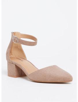 Taupe Faux Suede D'orsay Pointed Block Heel (Wide Width) by Torrid