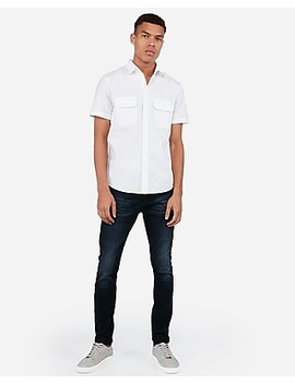 Slim Double Pocket Short Sleeve Oxford Shirt by Express