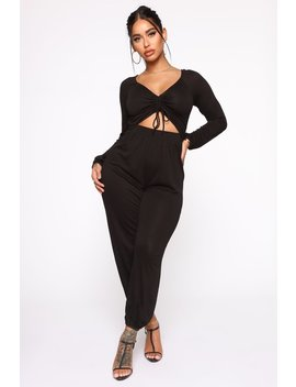 Easy Breeze Long Sleeve Jumpsuit   Black by Fashion Nova