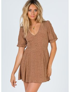 Jerry Mini Dress Caramel by Princess Polly
