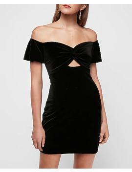 Velvet Puff Sleeve Twist Front Mini Bodycon Dress by Express