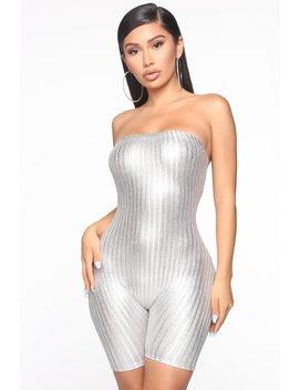 Galactic Gal Metallic Romper   Silver by Fashion Nova