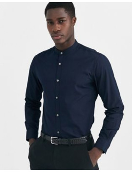 French Connection Plain Poplin Grandad Collar Slim Fit Shirt by French Connection
