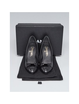 Black Leather Cc Pumps Size 6.5/37 by Chanel
