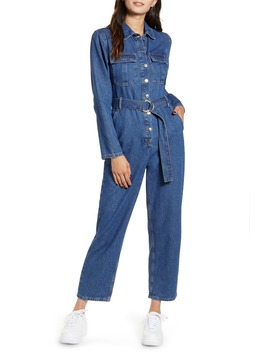 Belted Denim Boilersuit by Topshop