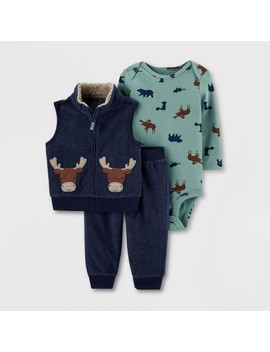 Baby Boys' 3pc Bodysuit, Moose Vest Top & Bottom Set   Just One You® Made By Carter's Blue/Green by Just One You Made By Carter's