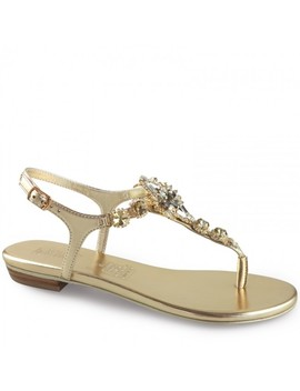 Sparkling Gold Leather Embellished Flat Sandal by Wittner