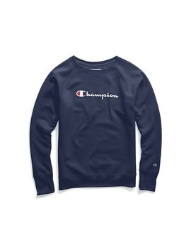 Champion Women's Powerblend® Fleece Boyfriend Crew, Script Logo   W2956 G Y07418 by Champion