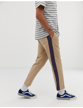 Asos Design Slim Crop Smart Pants In Stone With Blue Side Stripe by Asos Design
