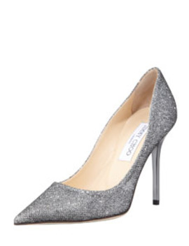 Abel Glitter Pointed Pump, Anthracite by Jimmy Choo