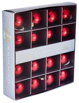 Home Of Christmas Glass Bauble, Set Of 16, Red, 3cm by Farmers