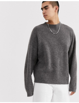 Asos White Boxy Sweater In Gray Alpaca Knit by Asos White