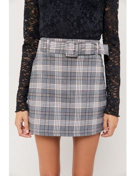 Uo Plaid Bengaline Belted Mini Skirt by Urban Outfitters