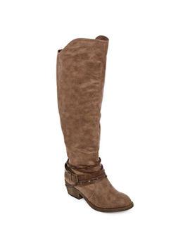 Pop Womens Aleeya Riding Block Heel Zip Boots by Pop