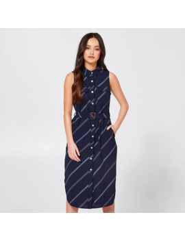 Dannii Minogue Petites Woven Shirt Dress   Navy Stripe by Target