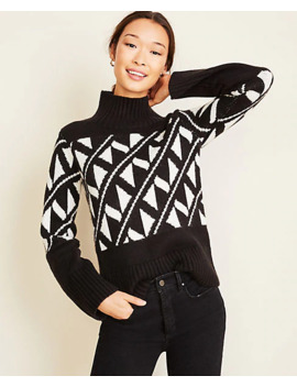 Abstract Jacquard Turtleneck Sweater by Ann Taylor