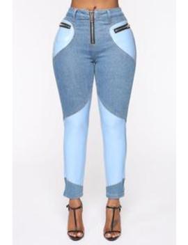Pop Up Guess Who Two Tone Pants   Blue/Combo by Fashion Nova