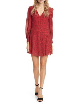 Polly Red Leopard Print Long Sleeve Fit & Flare Dress by Alice + Olivia