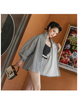 Le Palais Vintage 2019 Fashion Vintage Black And White Plaid Loose Long Sleeve Shirt High Waisted Shorts Womens Two Piece Sets by Ali Express.Com