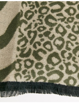 Pieces Mixed Animal Print Scarf by Pieces