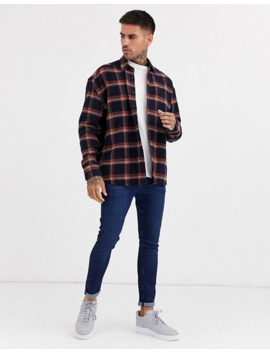 Asos Design Oversized Flannel Check Shirt In Navy by Asos Design