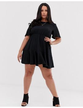 Boohoo Plus Tiered Smock Dress In Black by Boohoo
