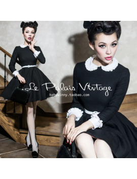 Free Shipping Le Palais Vintage Limited Vintage Peter Pan Collar Puff Woolen One Piece Dress Plus Size Available by Ali Express.Com