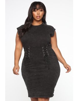 Acid Tongue Midi Dress   Black by Fashion Nova