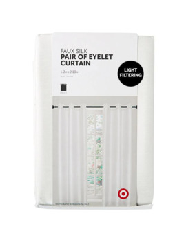 Faux Silk Pair Of Eyelet Curtains   White by Target