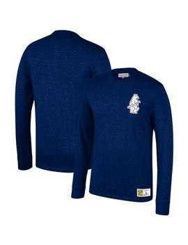 Chicago Cubs Mitchell & Ness Cooperstown Collection Slub Long Sleeve T Shirt   Navy by Mitchell & Ness