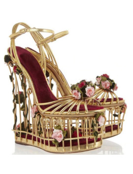 Sestito Girls Special Bird Cage Fretwork High Heels Dress Wedding Runway Shoes Ladies 3 D Rose Decorated Platform Wedges Sandals by Ali Express.Com