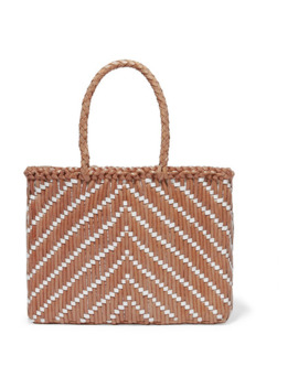 Kumari Small Two Tone Woven Leather Tote by Dragon Diffusion