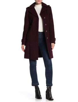 Removable Hood Belted Coat by Michael Michael Kors