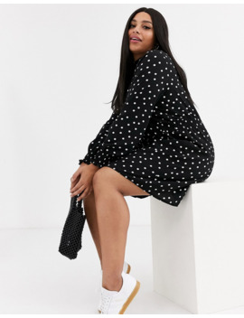New Look Curve Shirred Neck Dress In Mono Polka Dot by New Look